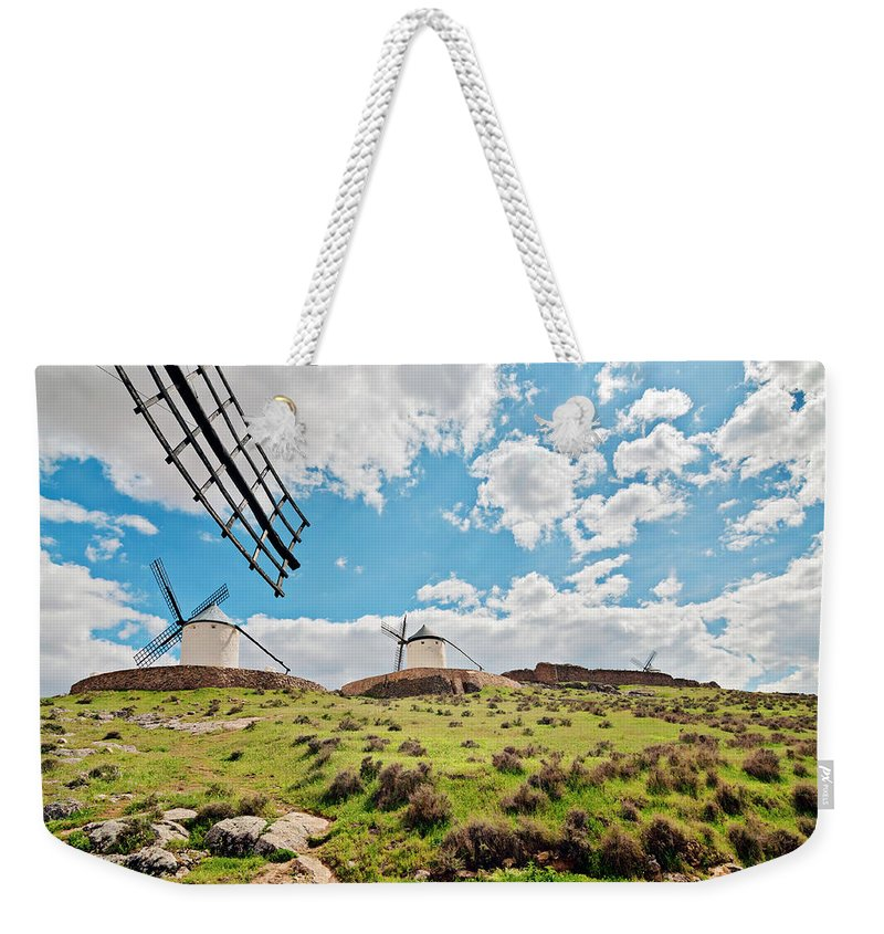 Anna Maloverjan Weekender Tote Bag featuring the photograph Traditional White Windmills by Anna Maloverjan