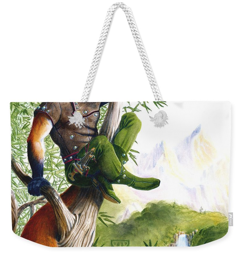 Fantasy Weekender Tote Bag featuring the painting Trail Blazing Fox by Melissa A Benson