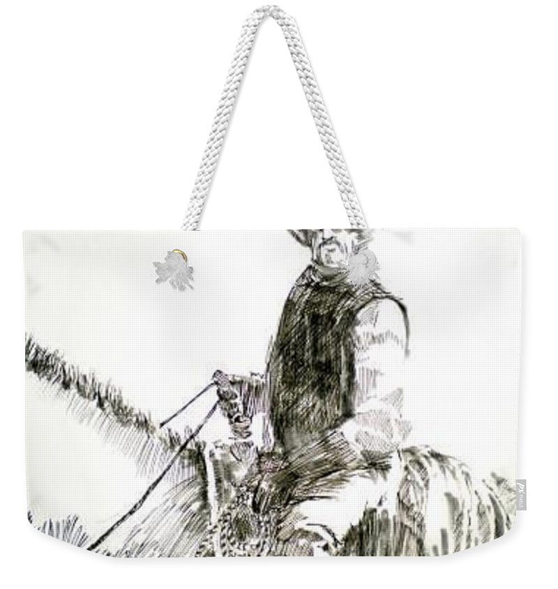 Trail Boss Weekender Tote Bag featuring the drawing Trail Boss by Seth Weaver