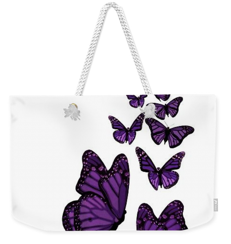 Purple Weekender Tote Bag featuring the digital art Trail Of The Purple Butterflies Transparent Background by Barbara St Jean