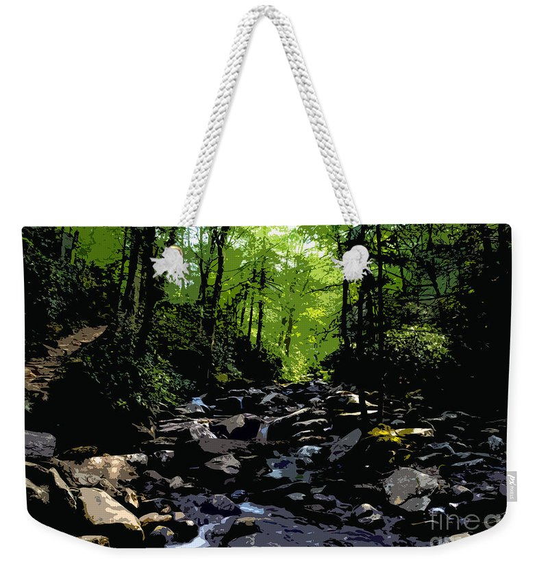 Trail Weekender Tote Bag featuring the painting Trail To Chimney Top by David Lee Thompson