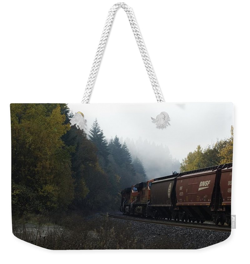 Train Weekender Tote Bag featuring the photograph Train 1 by Sara Stevenson