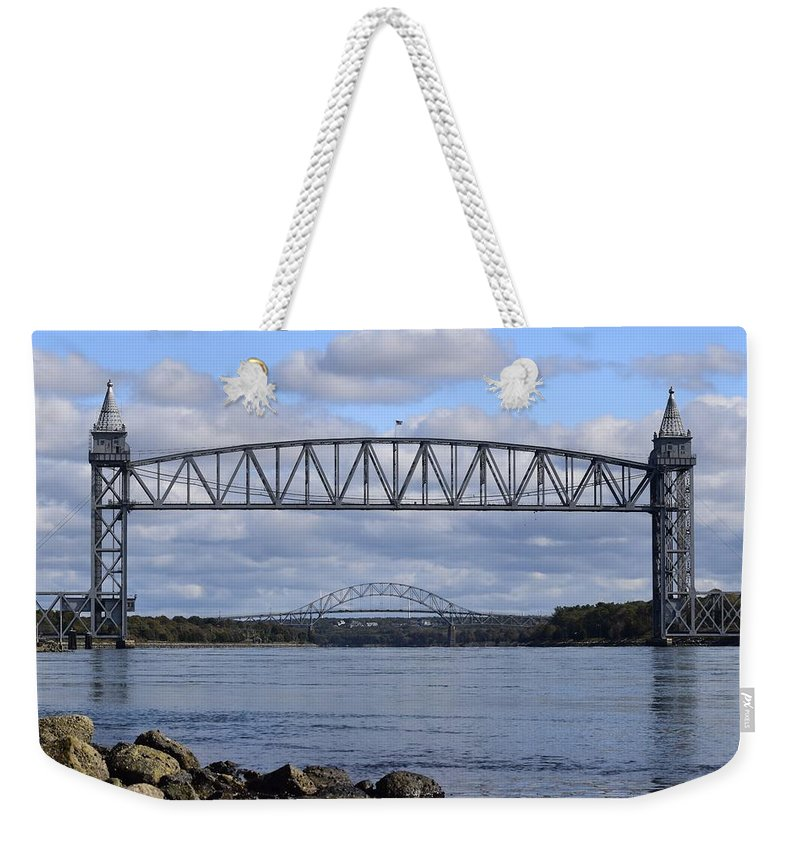 Train Bridge Weekender Tote Bag featuring the photograph Train Bridge by Pam Meoli