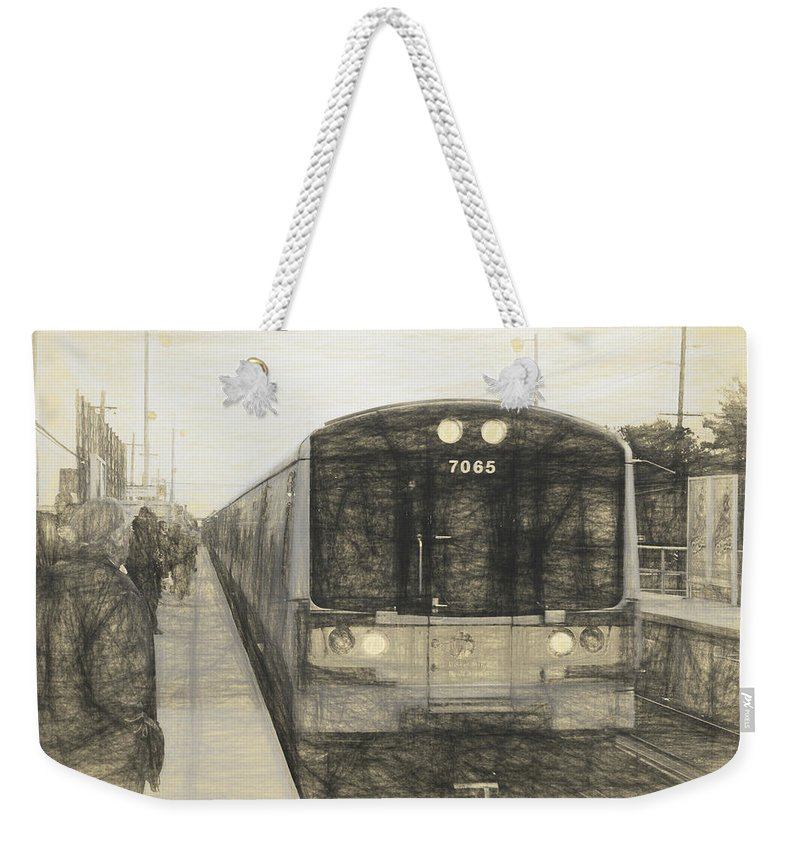 Long Island Train Weekender Tote Bag featuring the photograph Train Sketch by Melvin Busch