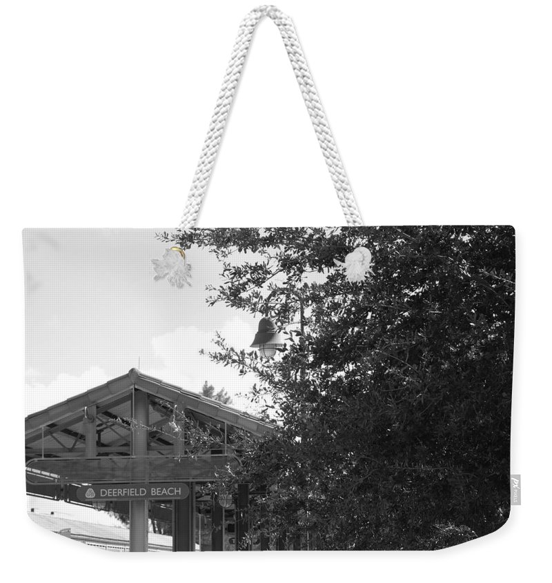 Black And White Weekender Tote Bag featuring the photograph Train Station In Deerfield Beach by Rob Hans