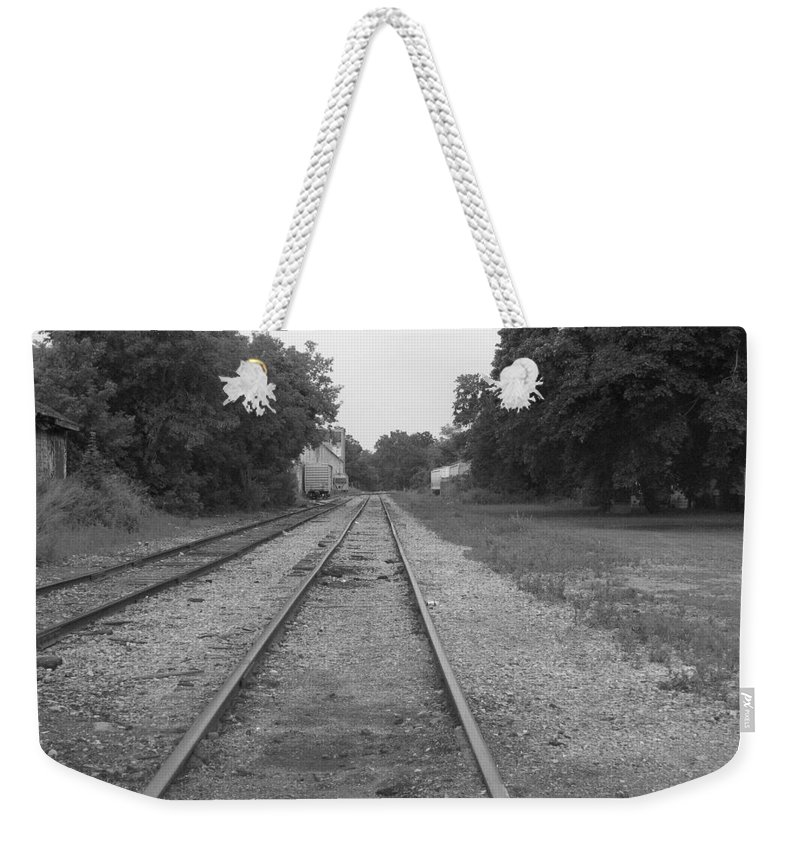 Train Weekender Tote Bag featuring the photograph Train To Nowhere by Rhonda Barrett