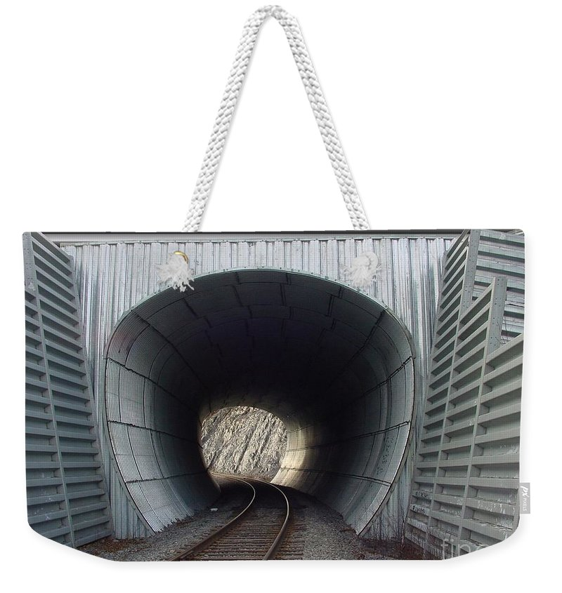 Digital Weekender Tote Bag featuring the photograph Train Track by Ron Bissett