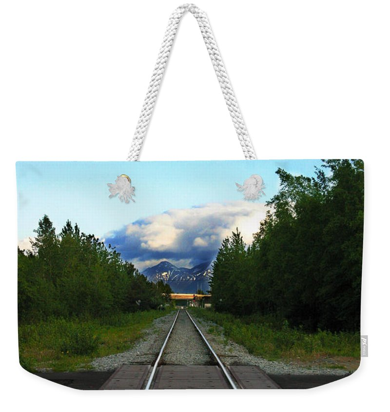 Train Weekender Tote Bag featuring the photograph Train Tracks Anchorage Alaska by Anthony Jones