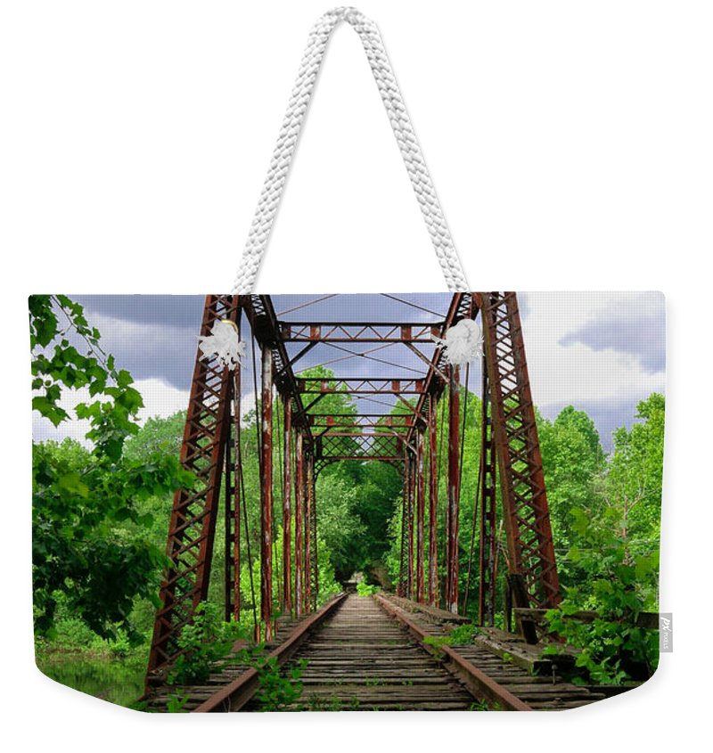 Murphy Nc. Weekender Tote Bag featuring the photograph Train Trestle by Lisa Bell