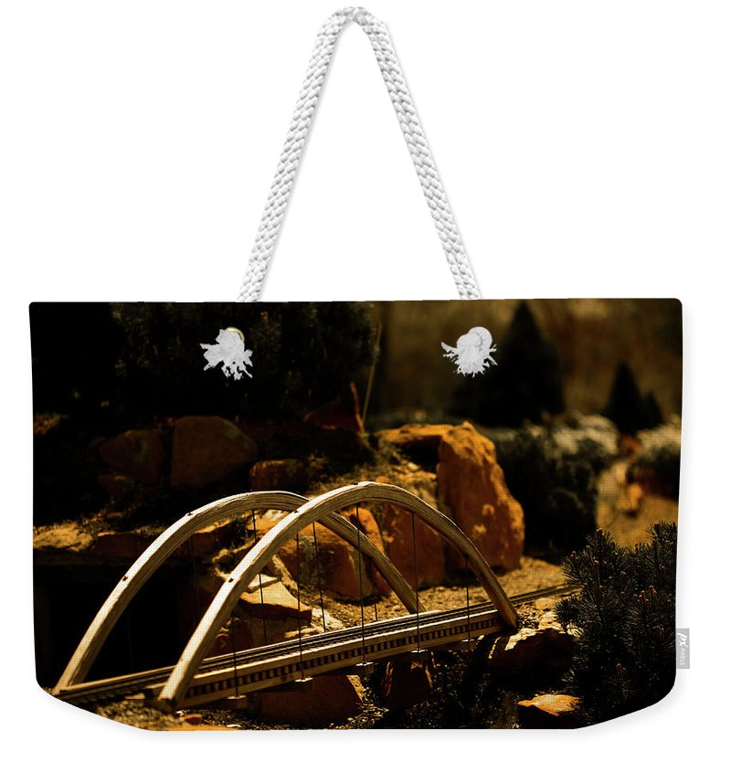 Train Weekender Tote Bag featuring the photograph Train Trestle by Marilyn Hunt