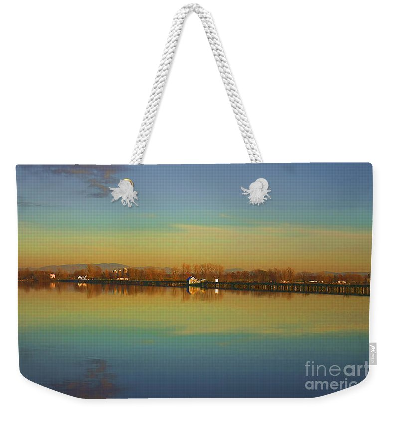 Lake Champlain Weekender Tote Bag featuring the photograph Train Trestle On Lake Champlain by Deborah Benoit