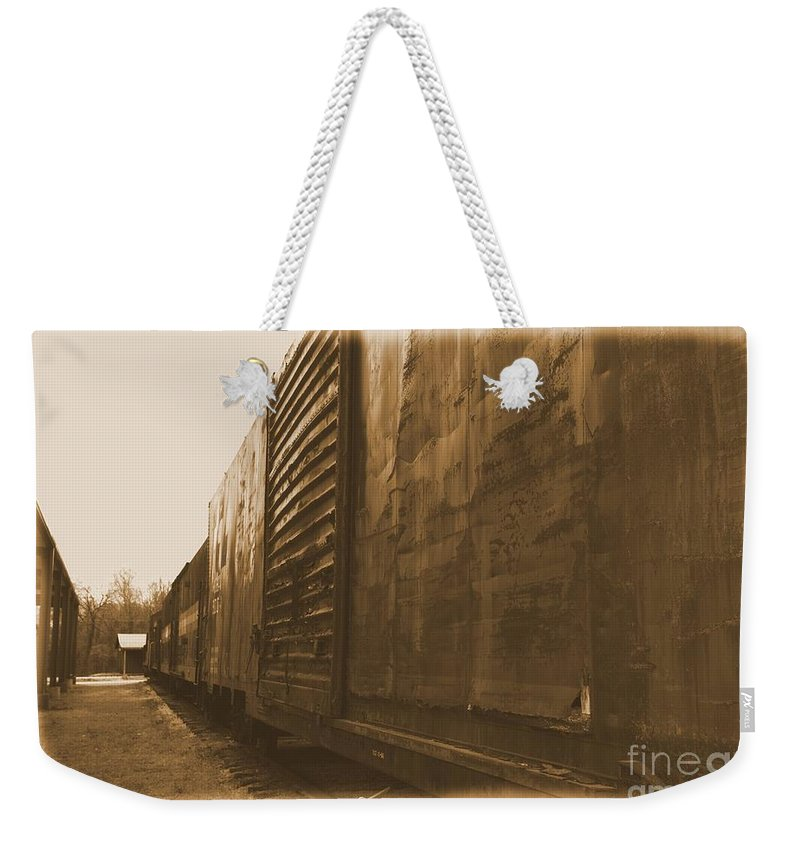 Train Weekender Tote Bag featuring the photograph Trains 12 Albumen Border by Jay Mann