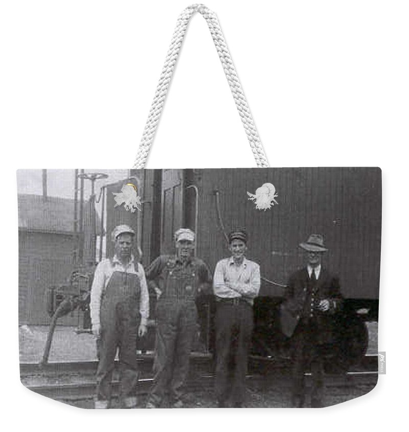 Old Photo Black And White Classic Saskatchewan Pioneers History Train Railway Workers Weekender Tote Bag featuring the photograph Trainsmen by Andrea Lawrence