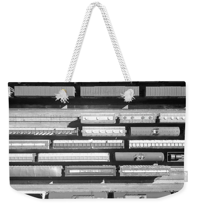 Trains Weekender Tote Bag featuring the photograph Trainyard by Rand