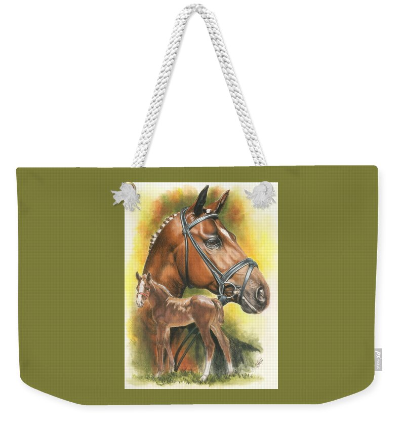 Jumper Hunter Weekender Tote Bag featuring the mixed media Trakehner by Barbara Keith