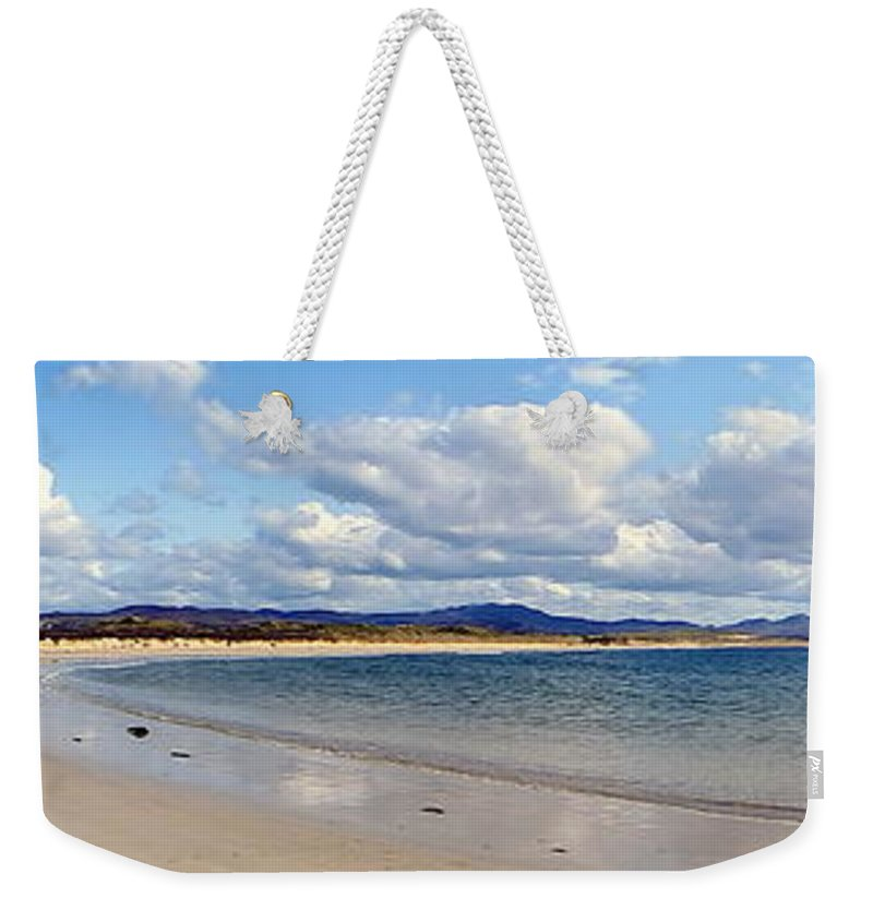 Landscape Weekender Tote Bag featuring the photograph Tramore Beach Donegal by Anthony Gallagher