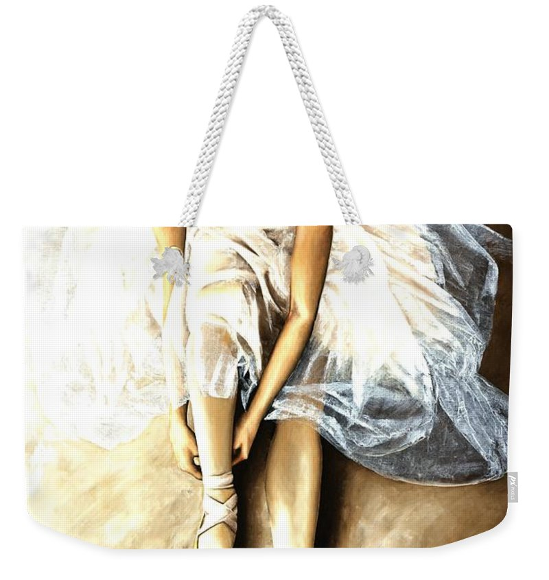 Ballet Weekender Tote Bag featuring the painting Tranquil Preparation by Richard Young