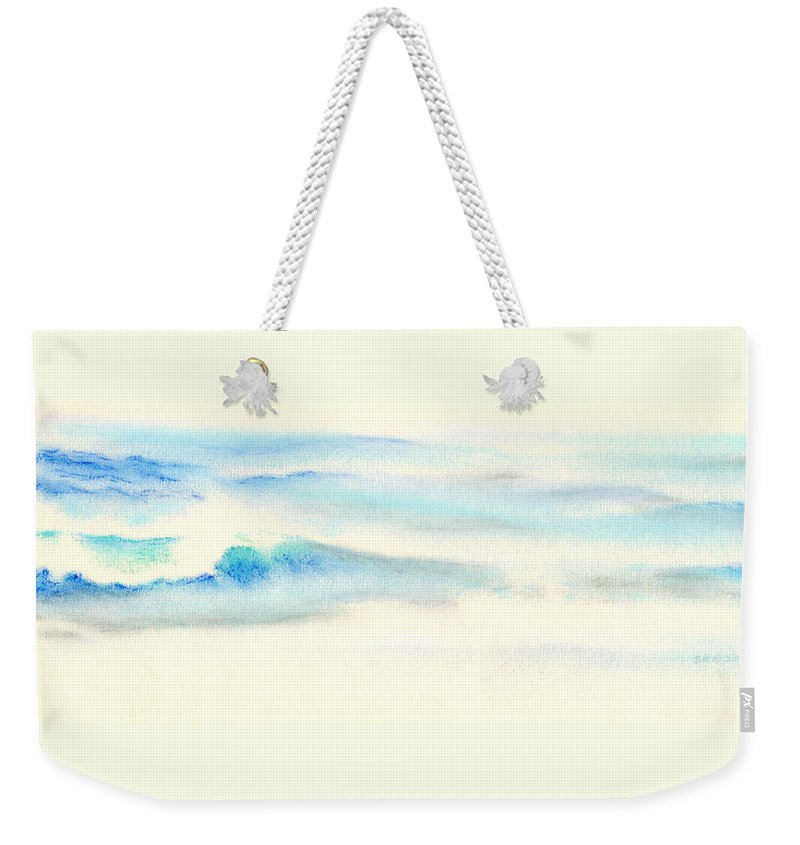 Seascape Weekender Tote Bag featuring the painting Tranquil Sea by Scott Kirkman