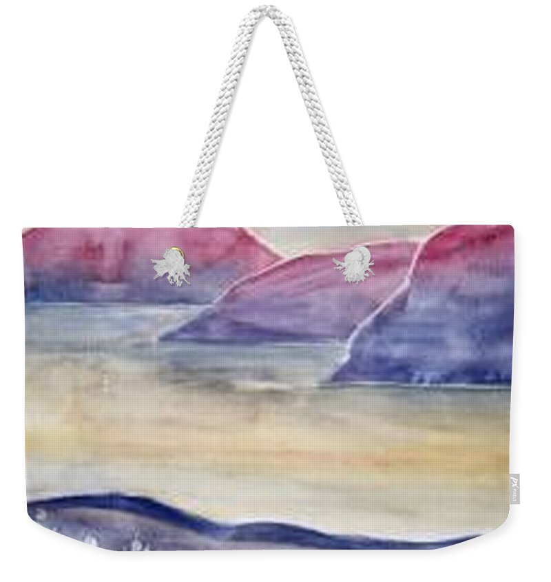 Watercolor Weekender Tote Bag featuring the painting TRANQUILITY 2 mountain modern surreal painting print by Derek Mccrea