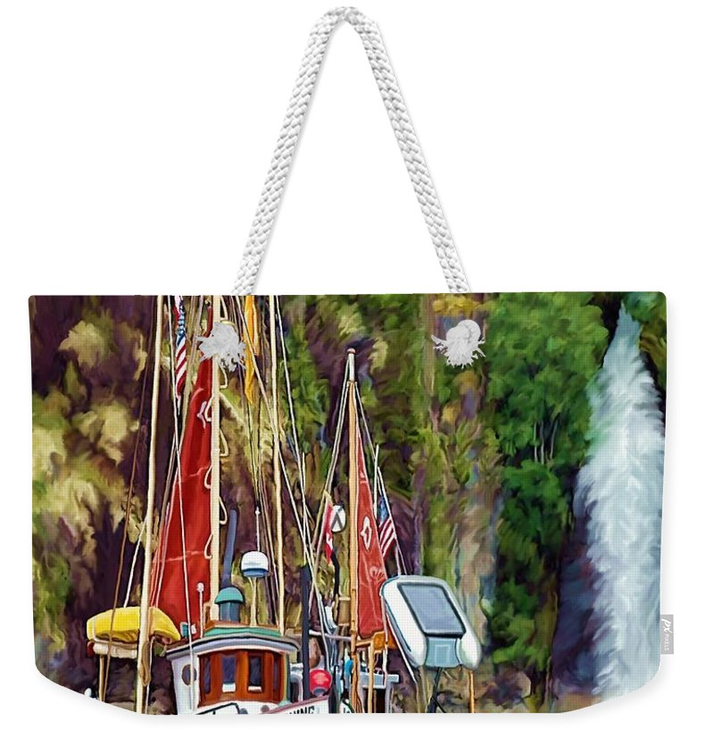 Boats Weekender Tote Bag featuring the painting Tranquility by David Wagner