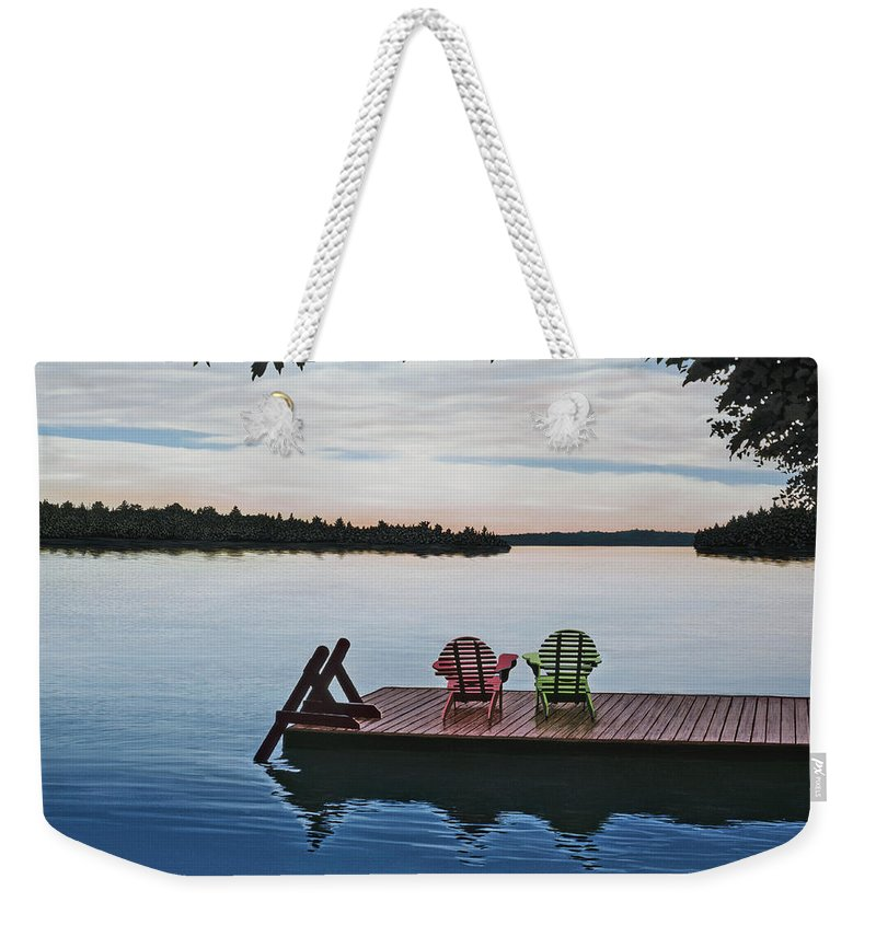 Landscapes Paintings Weekender Tote Bag featuring the painting Tranquility by Kenneth M Kirsch