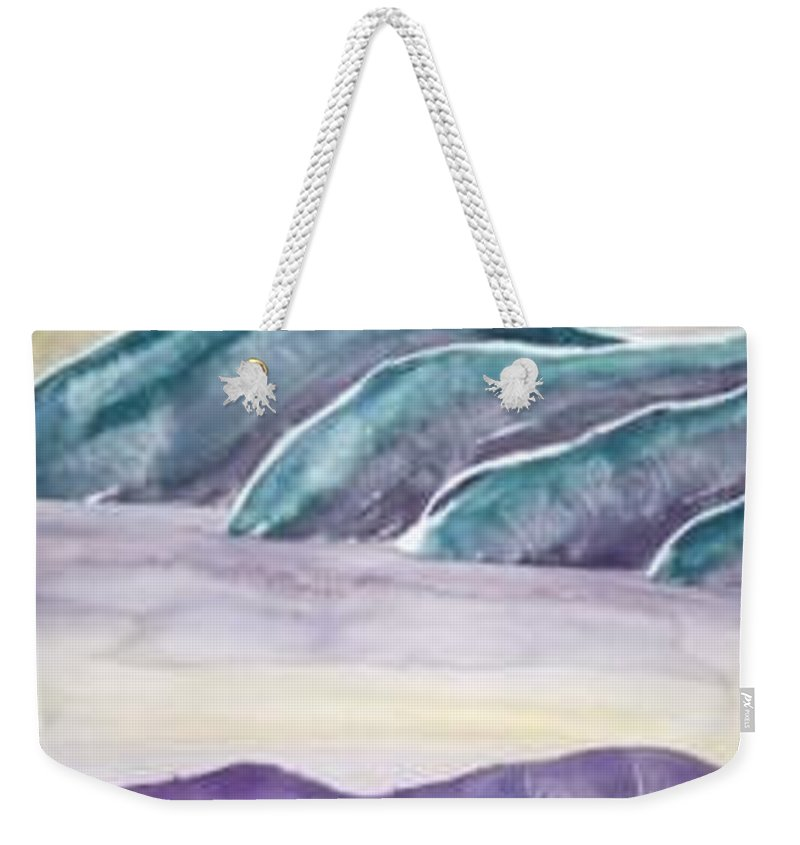 Watercolor Weekender Tote Bag featuring the painting Tranquility Landscape Mountain Surreal Modern Fine Art Print by Derek Mccrea