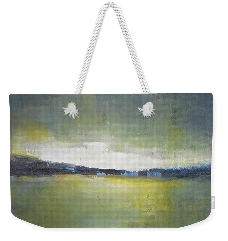 Landscape Weekender Tote Bag featuring the painting Tranquility Of The Sunset by Vesna Antic