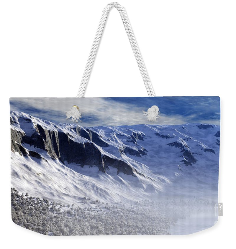 Mountains Weekender Tote Bag featuring the digital art Tranquility by Richard Rizzo