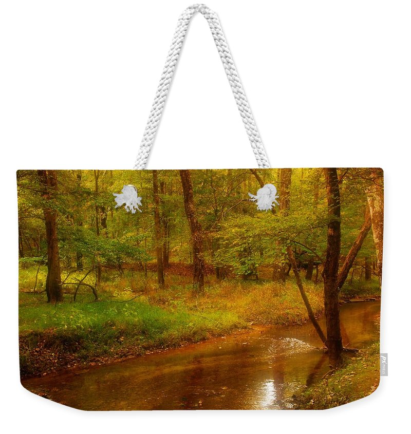 New Jersey Weekender Tote Bag featuring the photograph Tranquility Stream - Allaire State Park by Angie Tirado