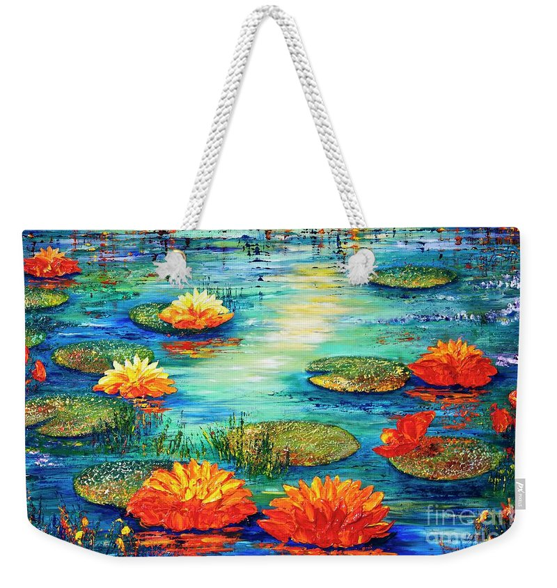Lilies Weekender Tote Bag featuring the painting Tranquility V by Teresa Wegrzyn