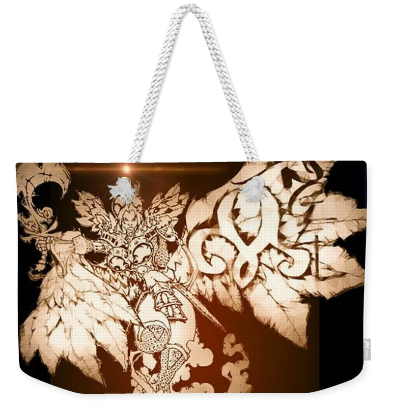 Fantasy Landscape Weekender Tote Bag featuring the drawing Transcending Angel by Louis Williams