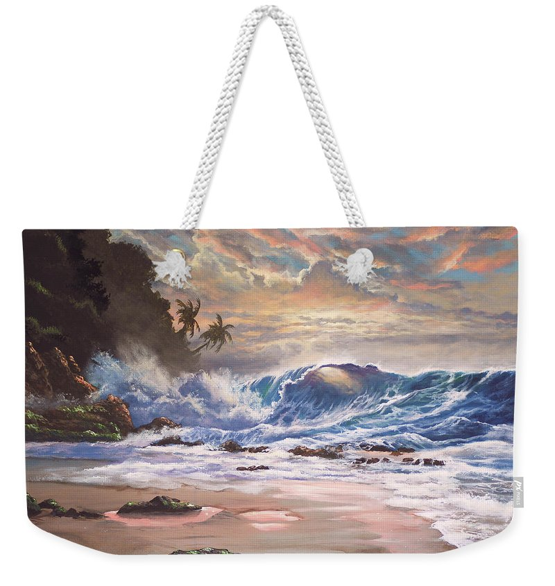 Tropical Weekender Tote Bag featuring the painting Transcending Beauty by Marco Antonio Aguilar