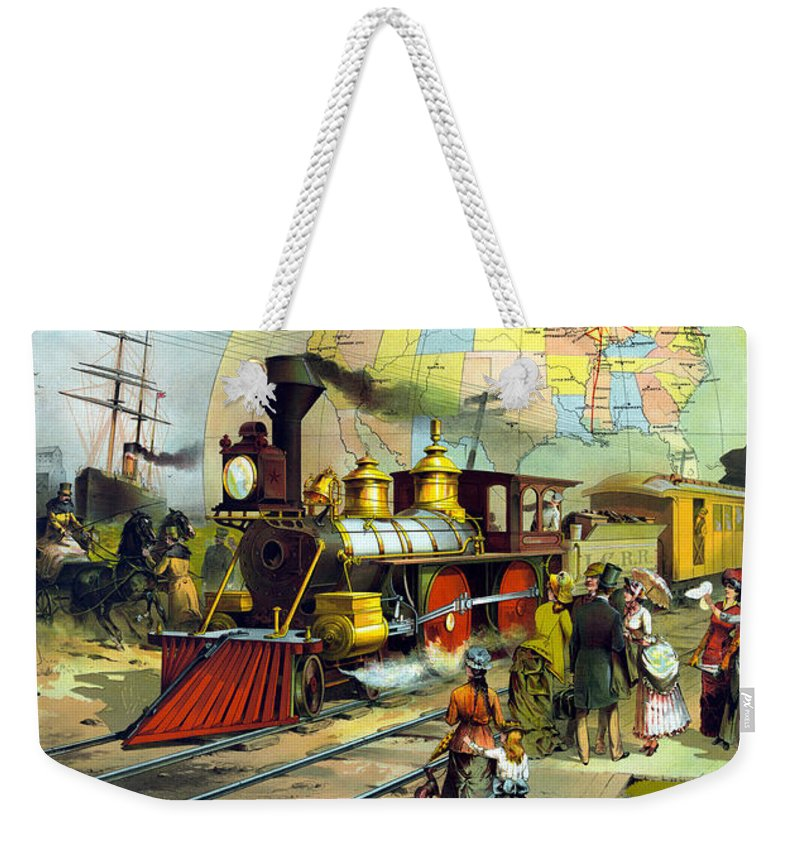 Trains Weekender Tote Bag featuring the painting Transcontinental Railroad by War Is Hell Store