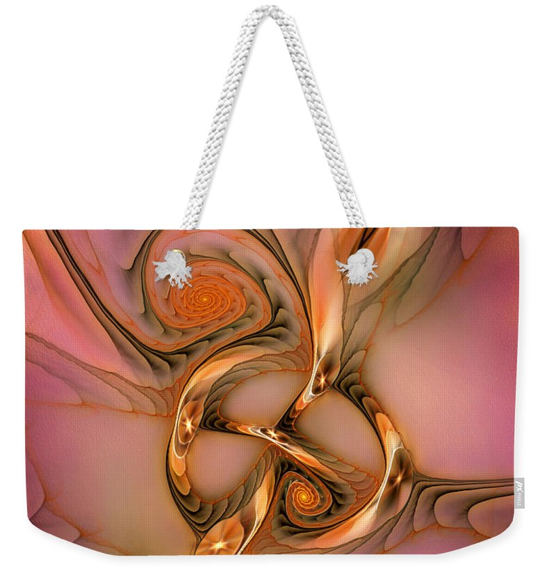 Abstract Weekender Tote Bag featuring the digital art Transferring Affections by Casey Kotas