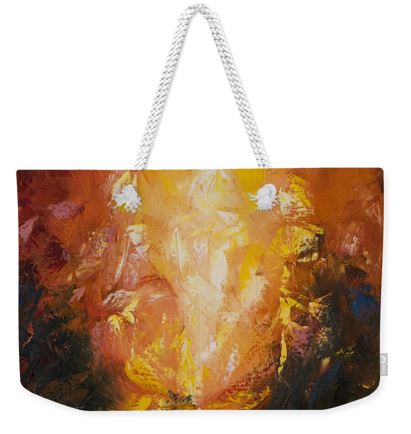 Abstract Weekender Tote Bag featuring the painting Transfiguration by Lewis Bowman