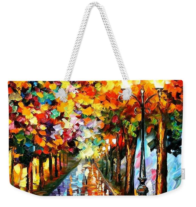 Afremov Weekender Tote Bag featuring the painting Transformation Of The Night by Leonid Afremov