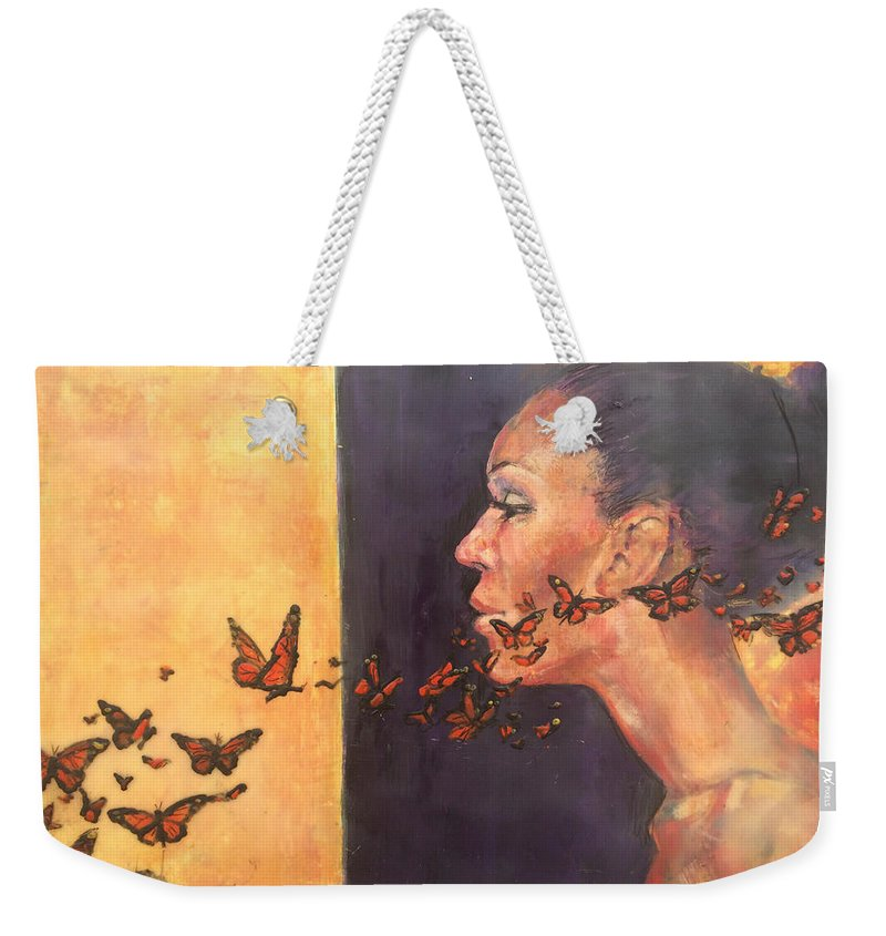 Butterflies Weekender Tote Bag featuring the painting Transformations #3 by Ezshwan Winding
