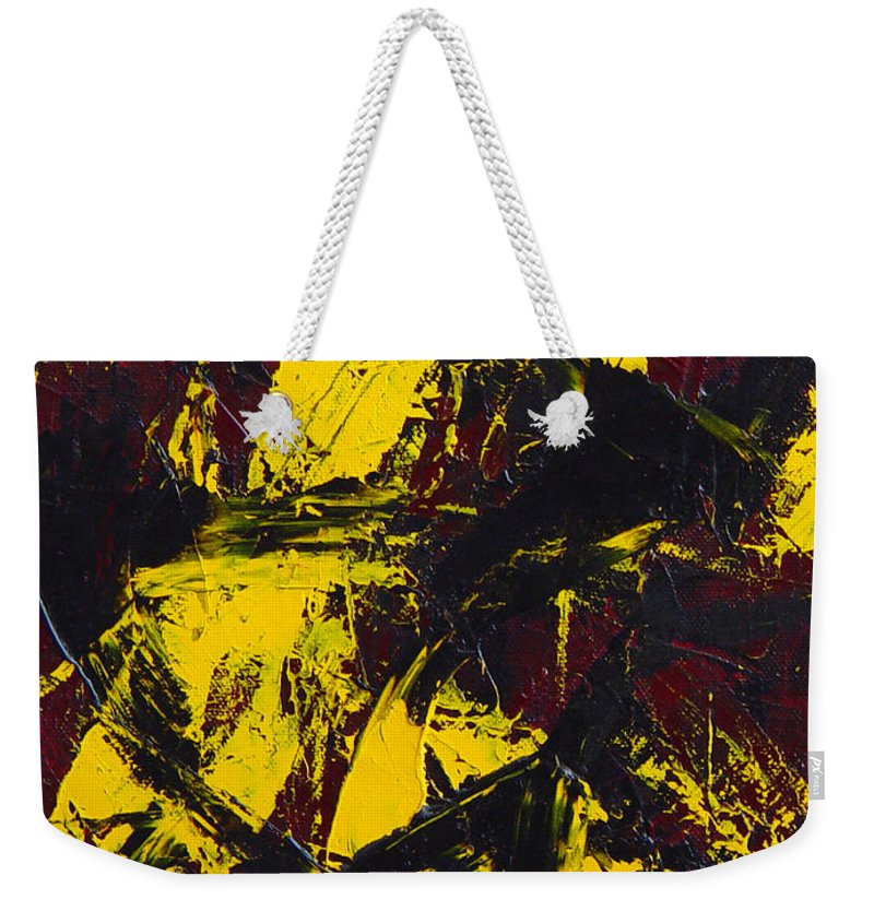 Abstract Weekender Tote Bag featuring the painting Transitions With Yelllow And Black by Dean Triolo
