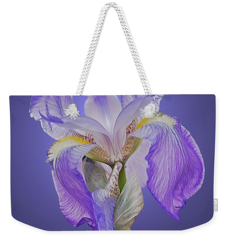 Iris Weekender Tote Bag featuring the photograph Translucent Iris by Michael Peychich