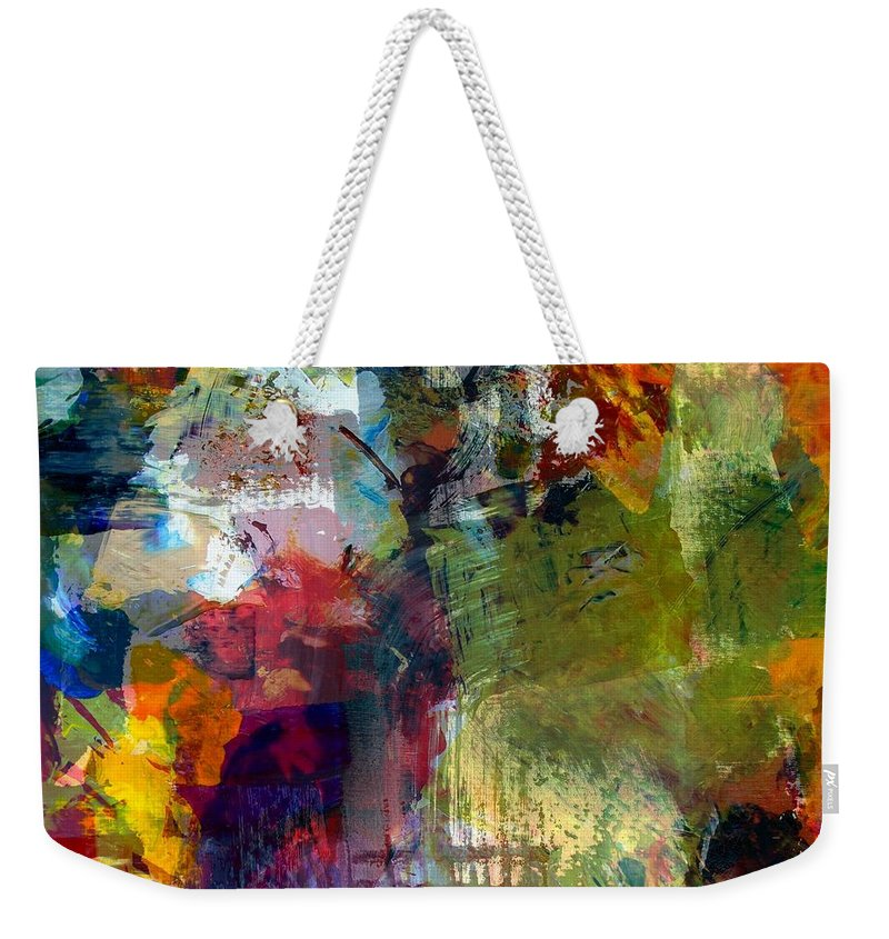 Abstract Collage Weekender Tote Bag featuring the painting Transparent Layers Four by Michelle Calkins