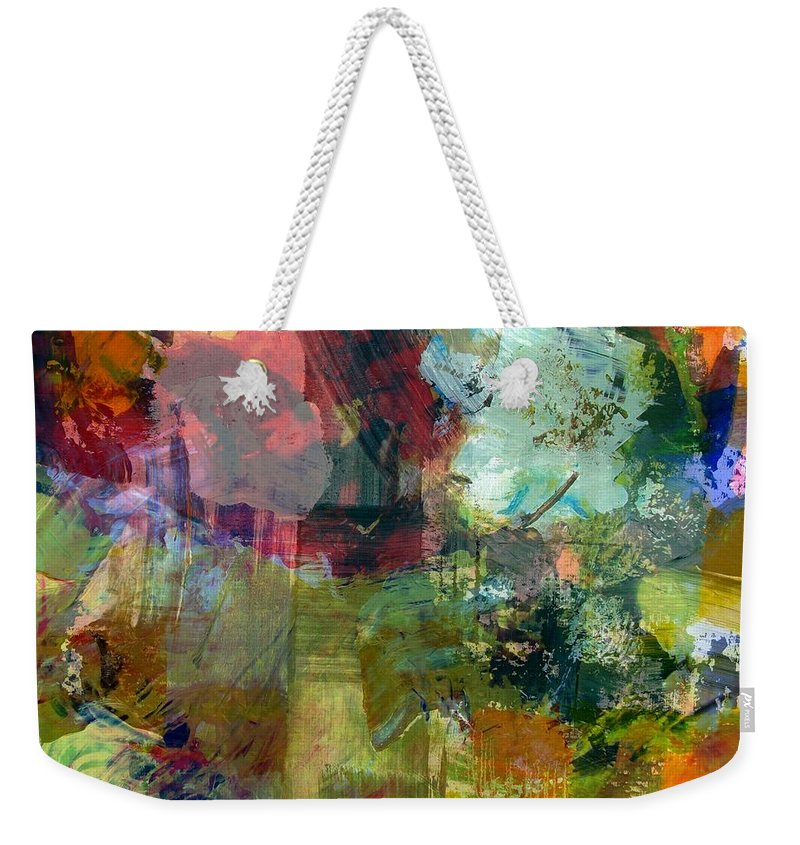 Abstract Collage Weekender Tote Bag featuring the painting Transparent Layers Two by Michelle Calkins