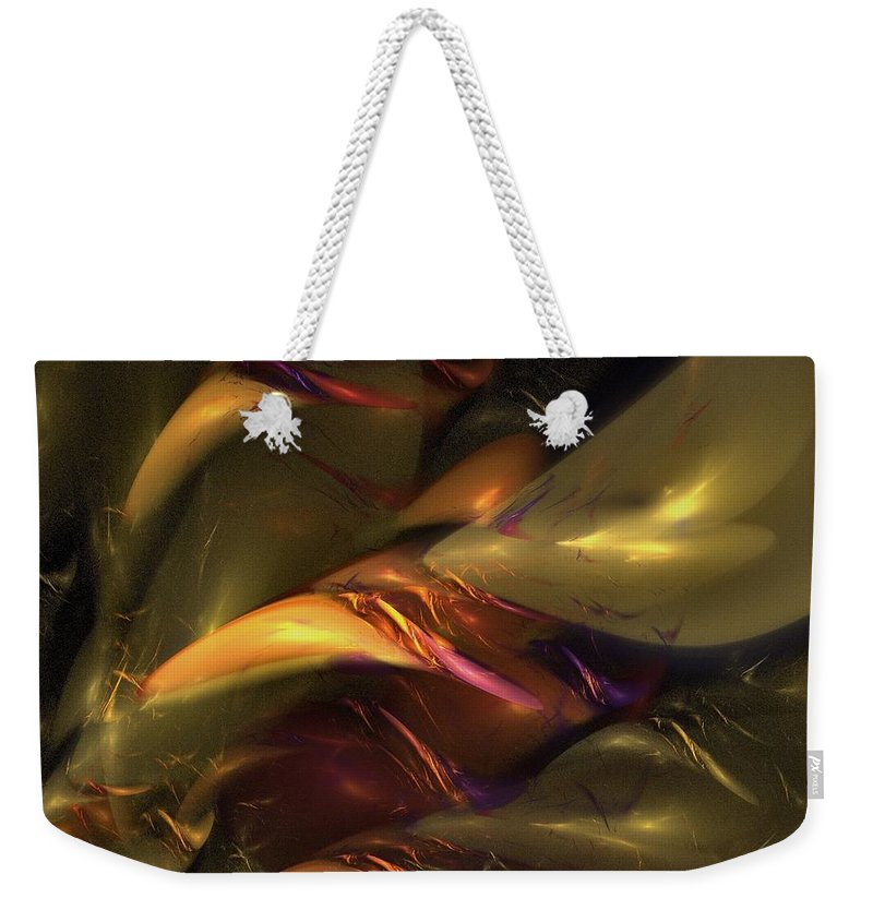 Amber Weekender Tote Bag featuring the digital art Trapped In Amber by Nirvana Blues