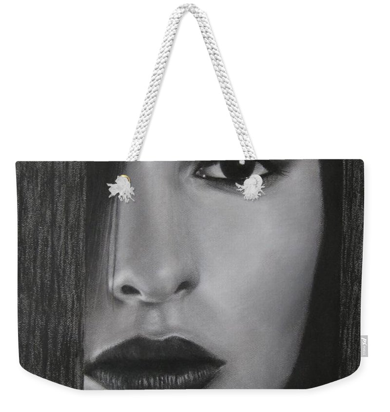 Woman Weekender Tote Bag featuring the painting Trapped by Lynet McDonald