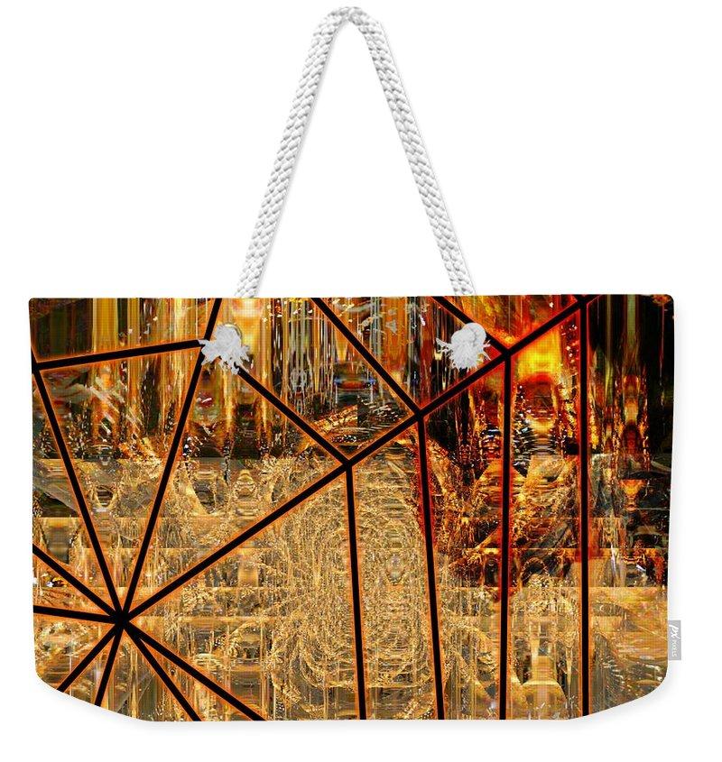Fania Simon Weekender Tote Bag featuring the mixed media Trapped Walkthrough by Fania Simon