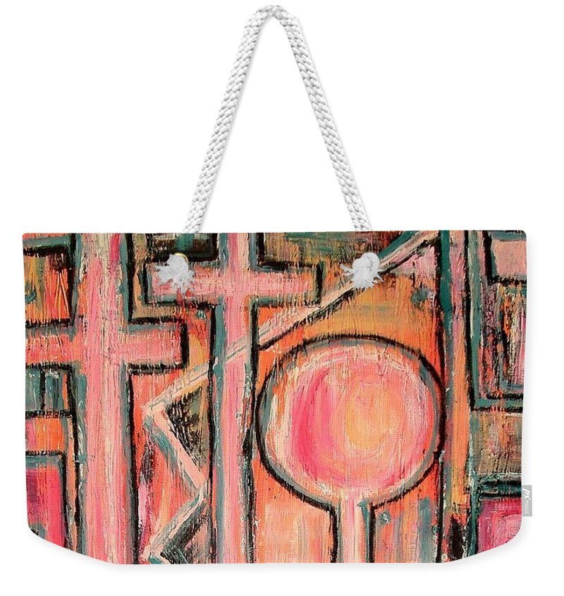 Cross Weekender Tote Bag featuring the painting Trappings Of Love Abstract Art Painting by Kathy Augustine