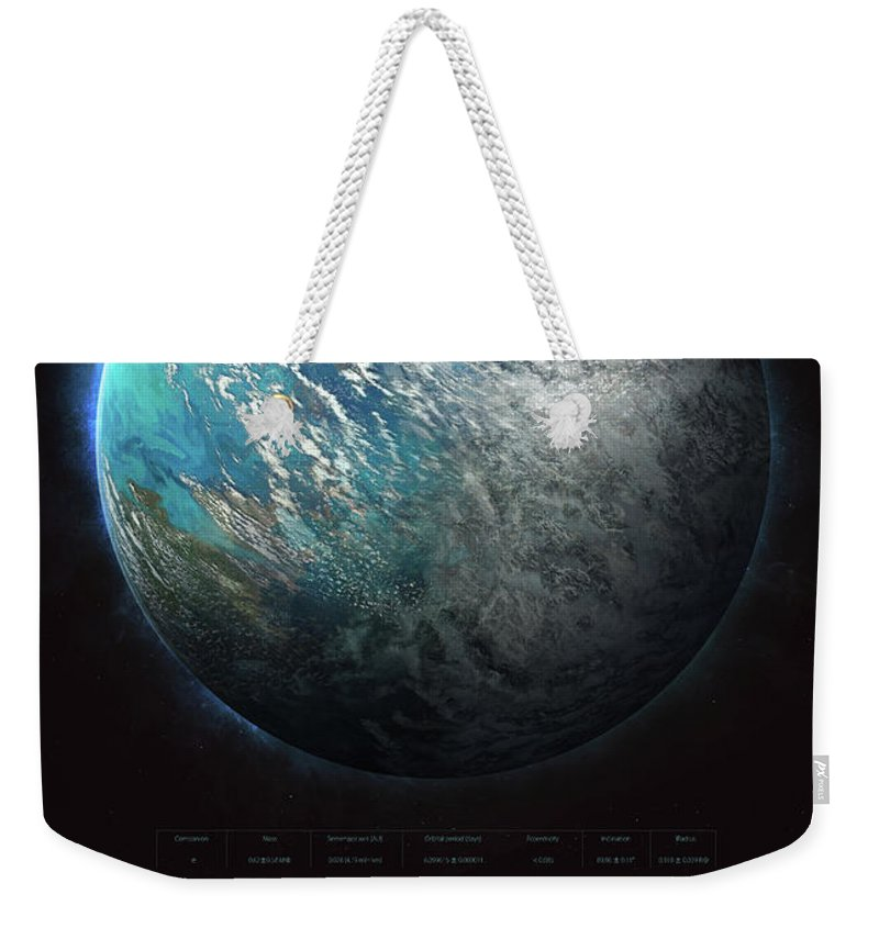 Sciencie Weekender Tote Bag featuring the digital art Trappist-1e by Guillem H Pongiluppi