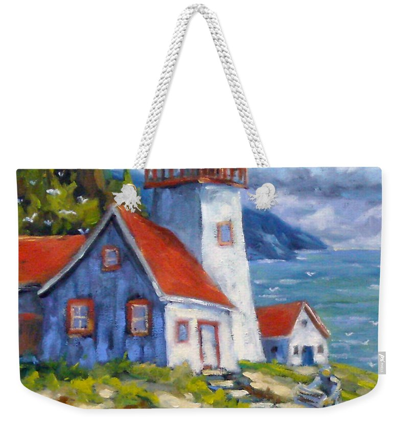 Art Weekender Tote Bag featuring the painting Traps And Lighthouse by Richard T Pranke