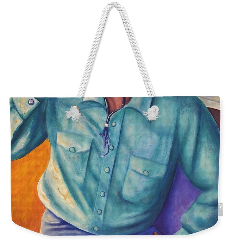 Cowboy Weekender Tote Bag featuring the painting Travelin Man by Shannon Grissom