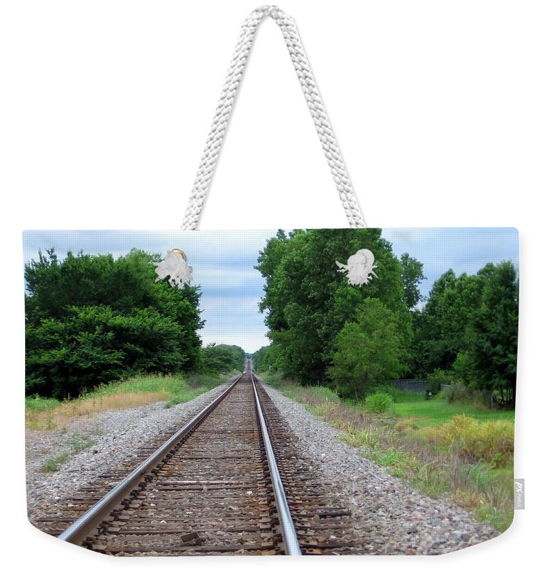 Train Track Weekender Tote Bag featuring the photograph Traveling by Amy Hosp