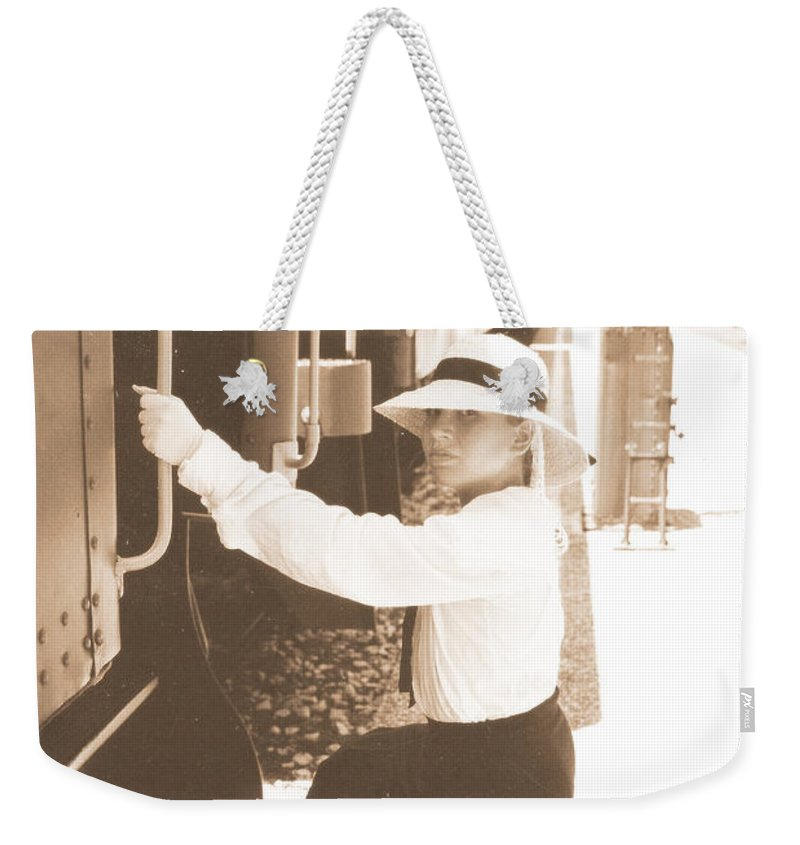 Snood Weekender Tote Bag featuring the photograph Traveling By Train - Sepia by Cindy New